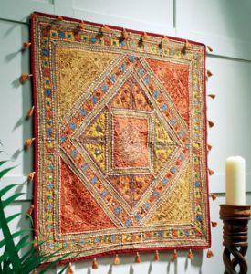 Patchwork Embroidered Wallhanging~80cm x 80cm~Fair Trade by Folio Gothic Hippy WH103